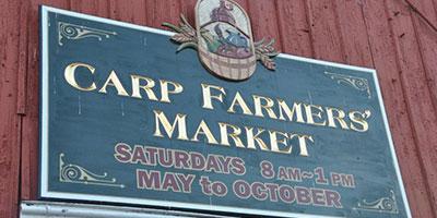 Carp farmers market sign
