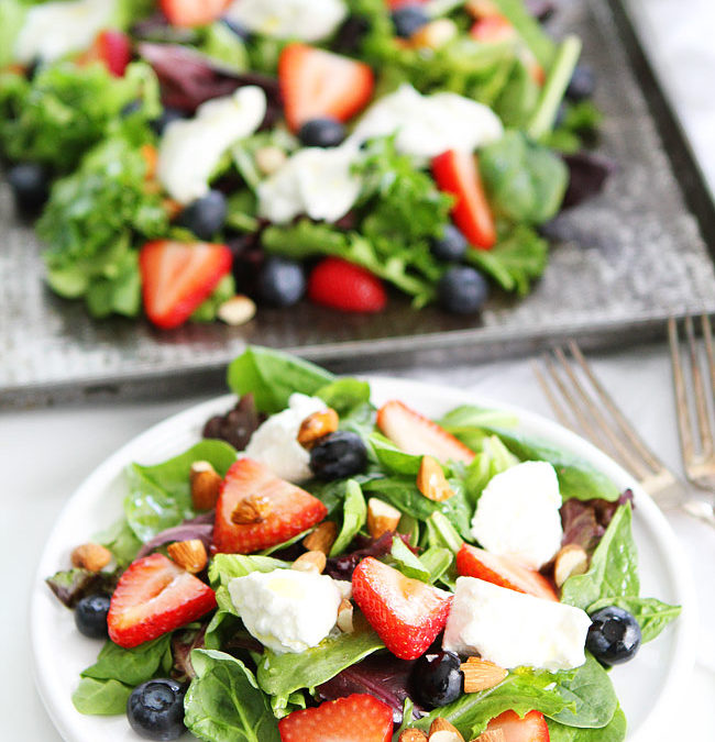 Berry Almond Spring Greens Salad