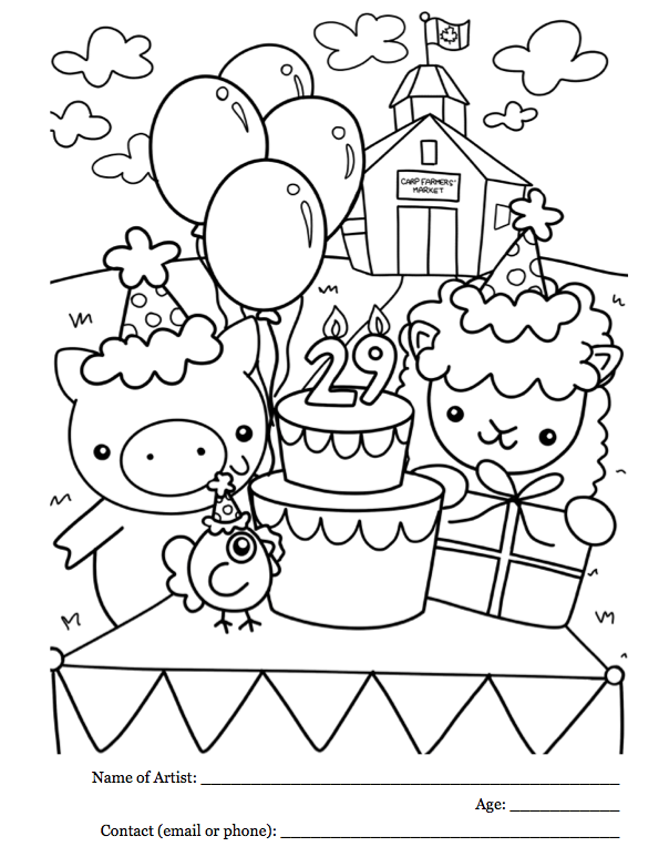 29 years! Kids\' Club Colouring Contest | Carp Farmers\' Market